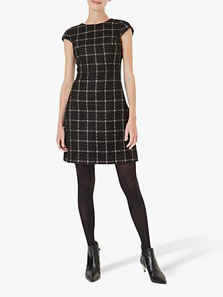 Hobbs Ashley Tweed Check Dress, Black/Gold