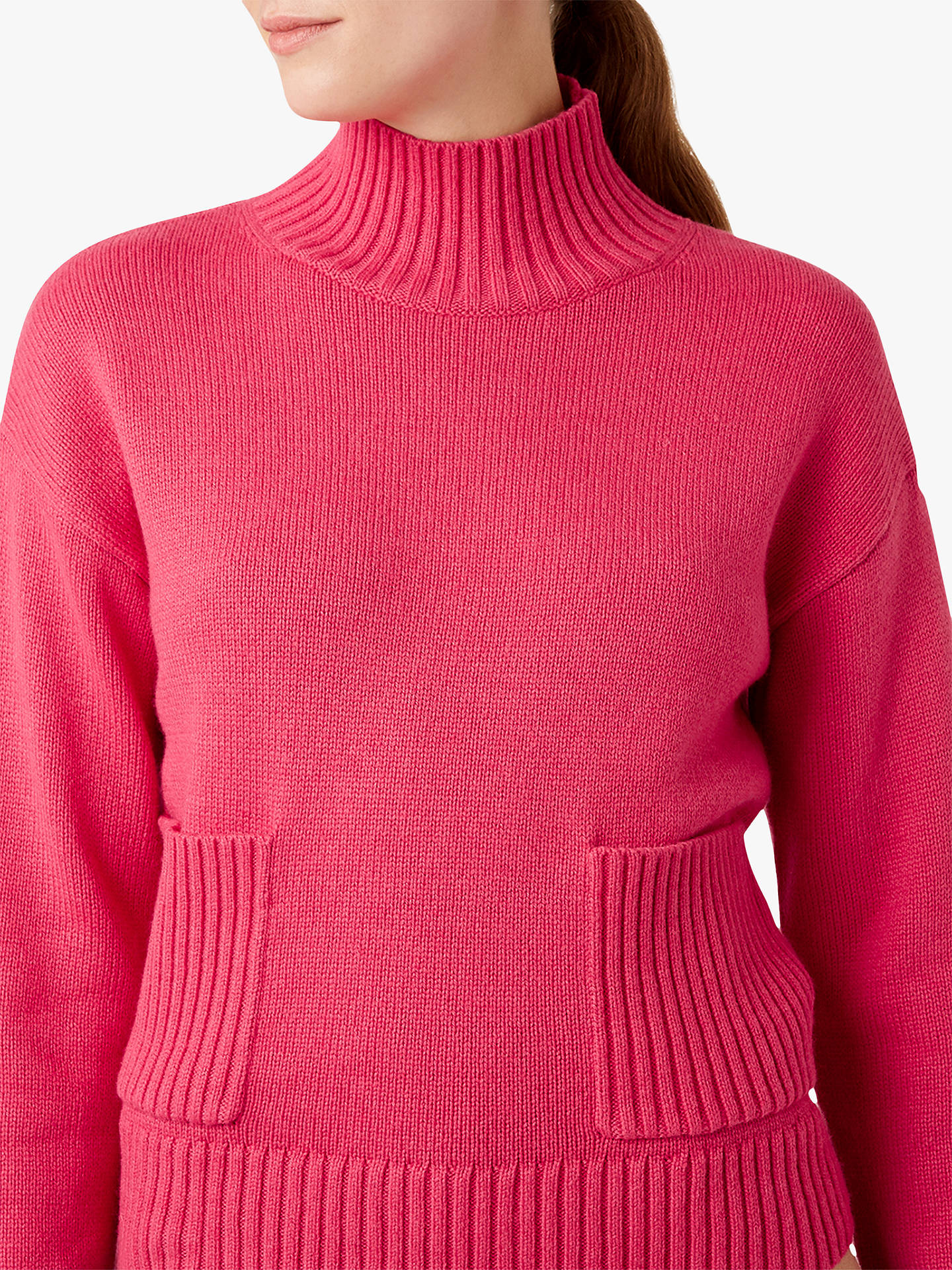 Buy Hobbs Carla Wool Blend Ribbed Jumper, Hot Pink, XS Online at johnlewis.com