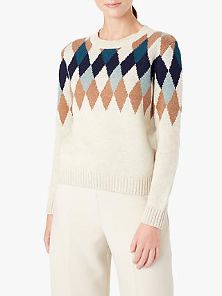 Hobbs Lupin Argyle Diamond Knit Sweater, Ivory/Multi