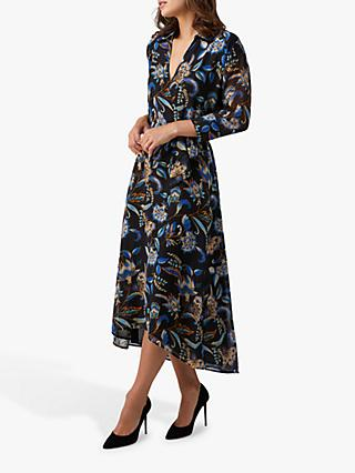 Pure Collection Floral Print Wrap Neck Maxi Dress, Navy/Multi