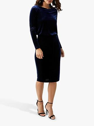Pure Collection Velour Jersey Slim Blouson Dress, Midnight