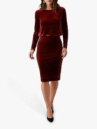 Pure Collection Jersey Blouson Velour Dress, Rust