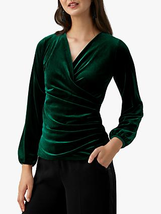 Pure Collection Jersey Gathered Cuff Wrap Top
