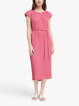 John Lewis & Partners Mini Pleat Midi Dress, Rose