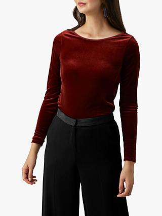 Pure Collection Velour Boat Neck Top