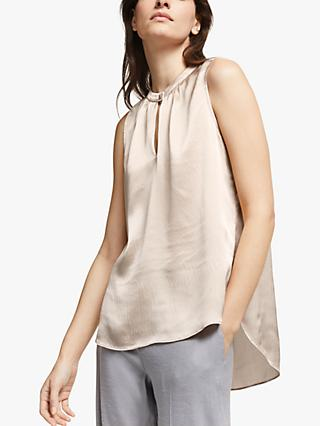 Modern Rarity Hammered Silk Notch Neck Top, Light Pink