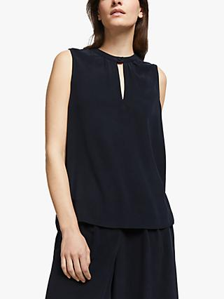 Modern Rarity Silk Notch Neck Top, Navy
