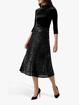 Pure Collection Sequin Midi Skirt, Black