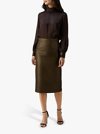 Pure Collection Metallic Pencil Midi Skirt, Gold Sparkle