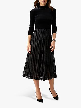Pure Collection Spotted Soft Pleat Skirt, Devore Spot