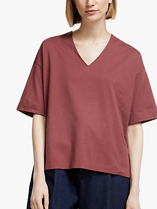 Kin V-Neck Oversized T-Shirt, Red