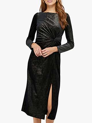 Monsoon Robyn Foil Print Velvet Midi Dress, Black