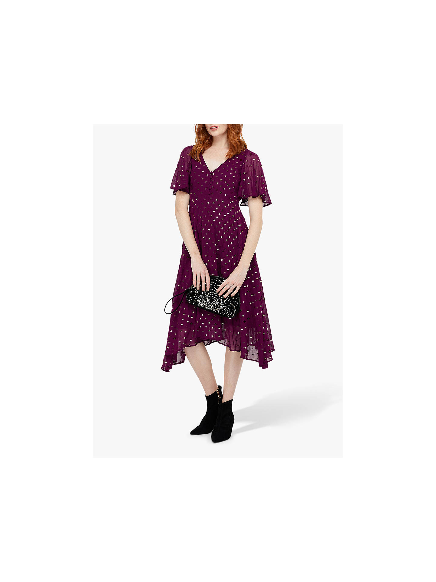 Buy Monsoon Dela Sequin Hanky Hem Tea Dress, Berry, 8 Online at johnlewis.com