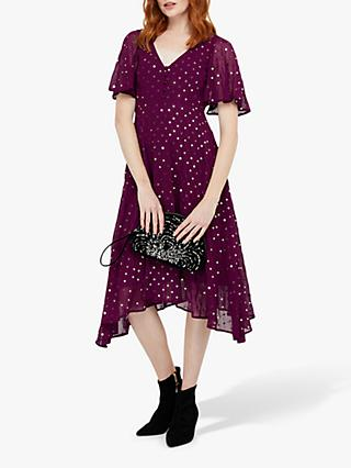 Monsoon Dela Sequin Hanky Hem Tea Dress