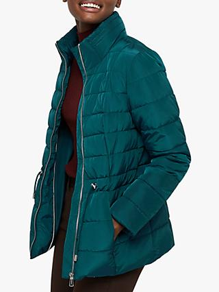Monsoon Kristen Eyelet Quilted Coat, Teal