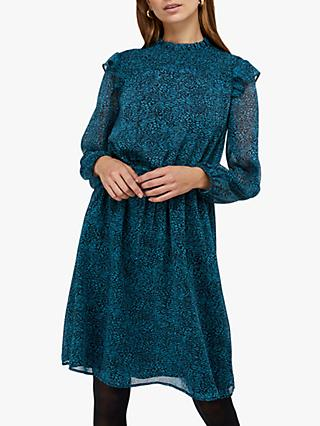 Monsoon Annabelle Shirred Animal Print Dress, Teal
