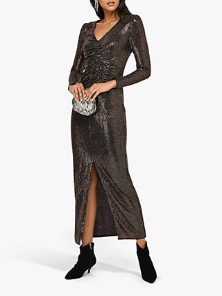 Monsoon Rhiannon Ruched Glitter Maxi Dress, Bronze