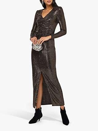Monsoon Rhiannon Ruched Glitter Maxi Dress, Bronze