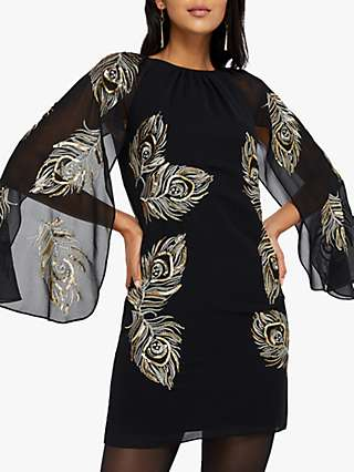 Monsoon Cara Peacock Embroidered Cape Dress