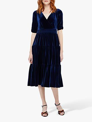 Monsoon Stevie Velvet Smock Midi Dress, Navy