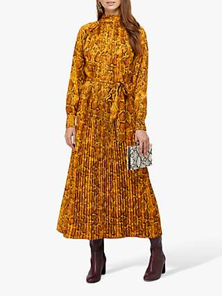 Monsoon Jules Snake Print Trapeze Dress, Yellow