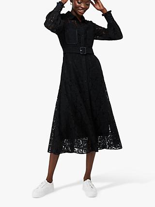 Monsoon Yvie Lace Shirt Dress, Black
