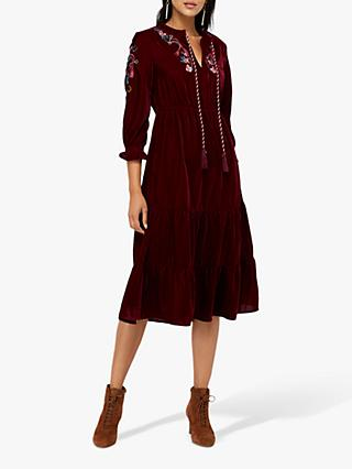 Monsoon Vivi Velvet Embroidered Midi Dress, Berry
