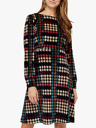 Monsoon Harriet Houndstooth Print Dress, Black