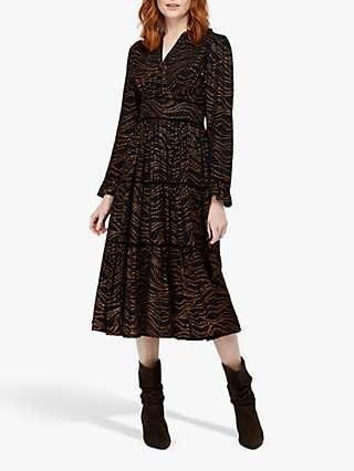 Monsoon Mara Tiered Foil Star Dress, Black