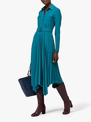 Monsoon Pia Pleated Shirt Dress, Teal