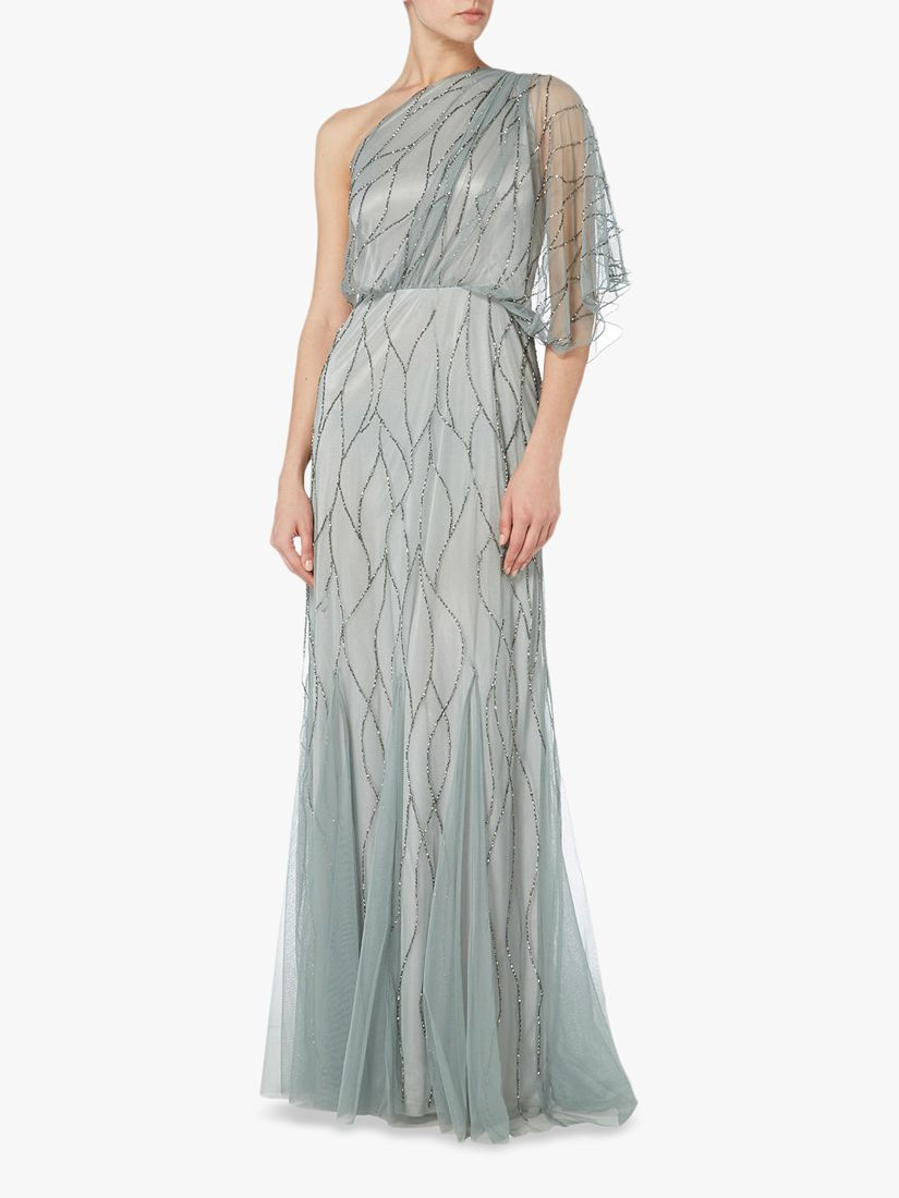 RAISHMA Raishma One Shoulder Embellished Gown, Slate Grey