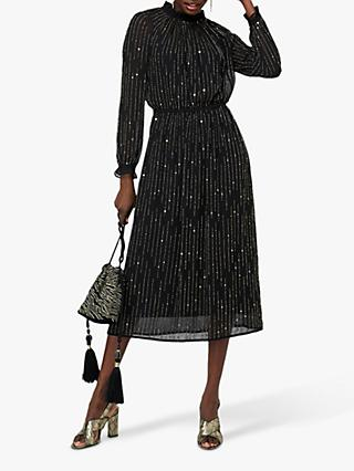 Monsoon Demi Linear Embroidered Midi Dress, Black