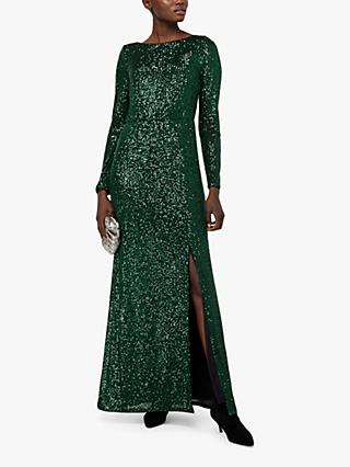 Monsoon Jaidynn Sequin Dress, Mid Green
