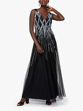 Monsoon Marnie Embellished Maxi Dress, Black