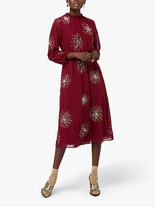 Monsoon Aurelie Starburst Dress, Berry