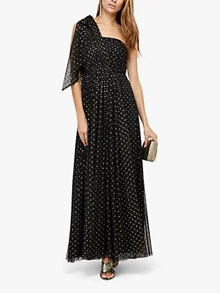 Monsoon Mia Metallic Spot One Shoulder Maxi Dress, Black