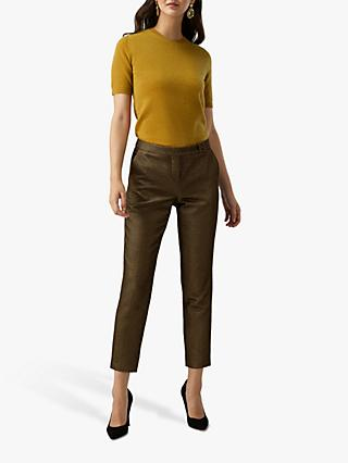 Pure Collection Metallic Ankle Trousers, Gold Sparkle