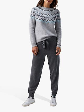 Pure Collection Cashmere Rich Knitted Joggers, Charcoal