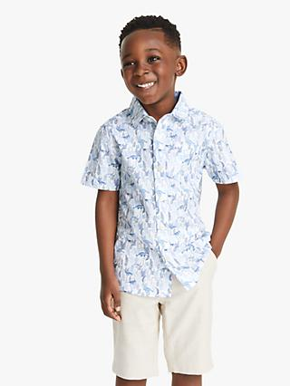 John Lewis & Partners Heirloom Collection Boys' Dinosaur Cotton Shirt, Blue