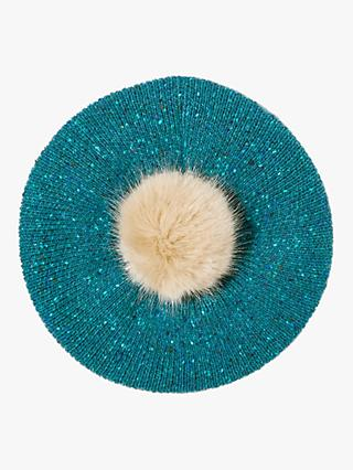 Jigsaw Donegal Pom Wool Beret, Teal