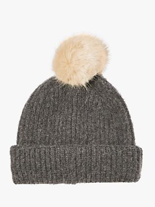 Jigsaw Brushed Lambswool Pom Pom Beanie Hat, Dark Grey