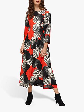 Selected Femme Kairi Print Midi Dress, Orange