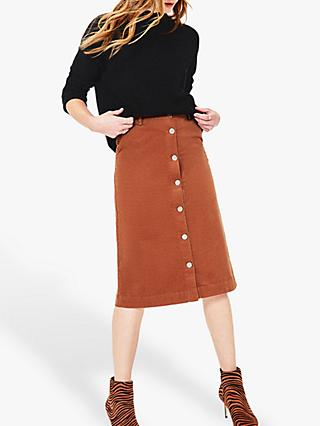 Oasis Button Cord Skirt, Brick