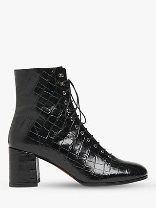 Whistles Alban Lace Up Leather Boots, Black