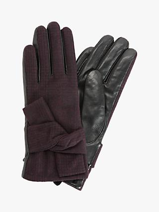 Unmade Creda Check Bow and Leather Gloves, Plum