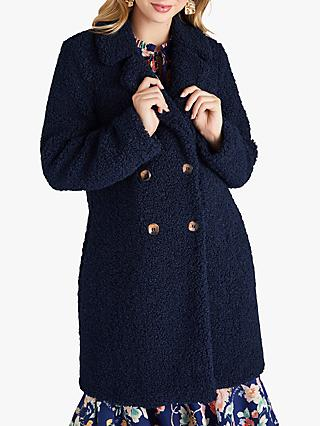 Yumi Teddy Bear Fur Double Breasted Coat, Navy
