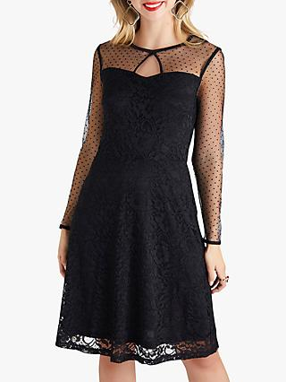 Yumi Spot Mesh Skater Lace Dress, Black