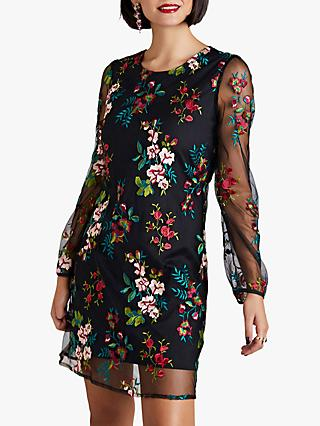 Yumi Embroidered Floral Tunic Dress, Black
