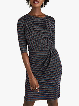 Yumi Stripe Knot Metallic Stripe Dress, Multi