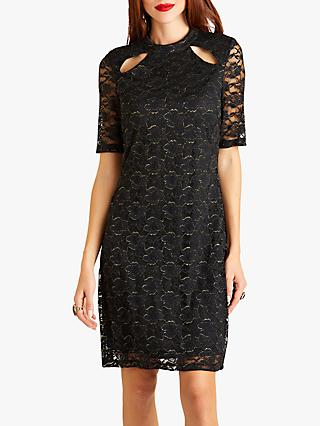 Yumi Lace Bodycon With Slit Neck Detail, Black
